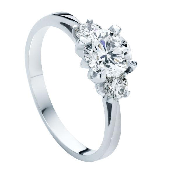 Star Trio White Gold Engagement Ring