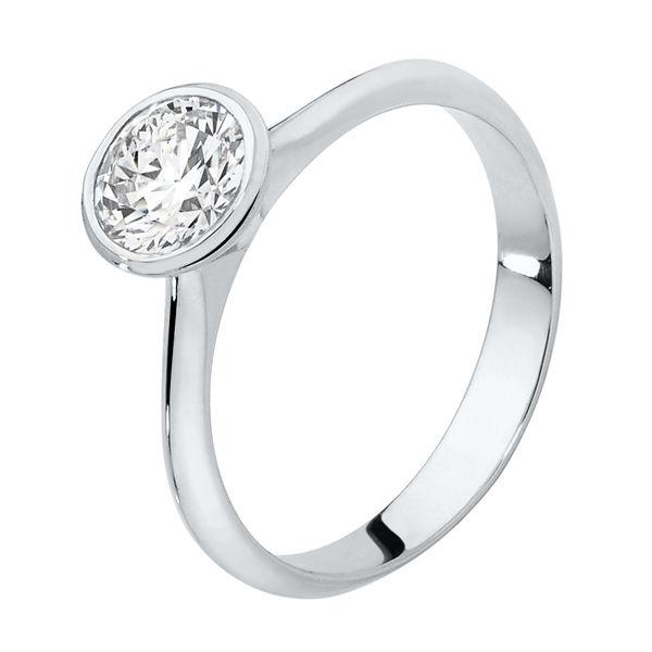 Sunburst White Gold Engagement Ring