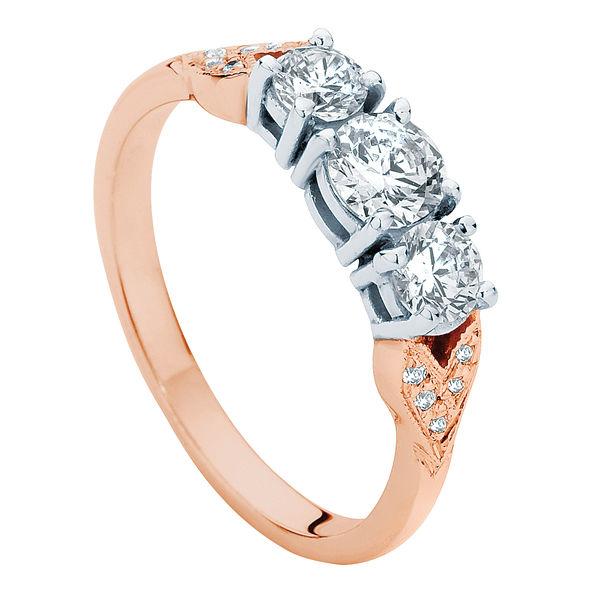 Trio leaf detail Rose Gold Engagement Ring