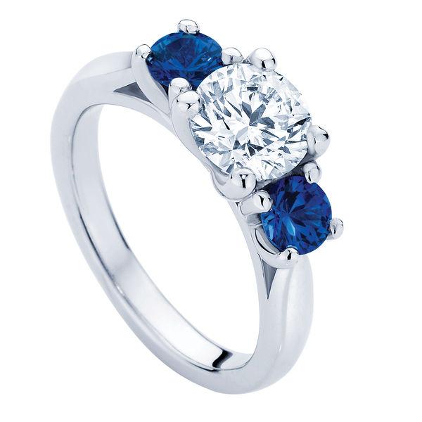 Trio with Sapphire Platinum Engagement Ring