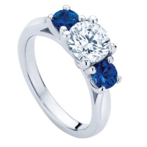 Trio with Sapphire White Gold Engagement Ring
