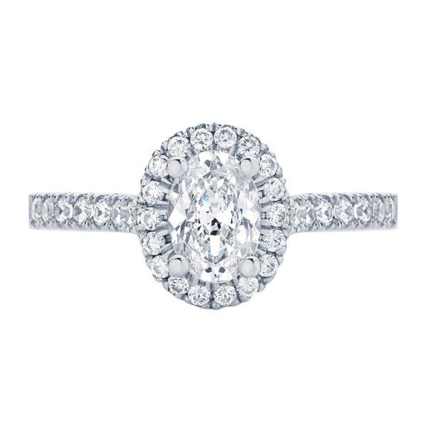 Rosetta Oval White Gold Engagement Ring