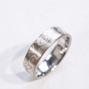 Rose Gold, White Gold and Silver Mokume in a Matte Finished Wedding Band