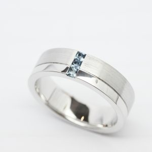 Mens Matte Finish White Gold Wedding Band with a Polished Side Band and Square Cut Aquamarines