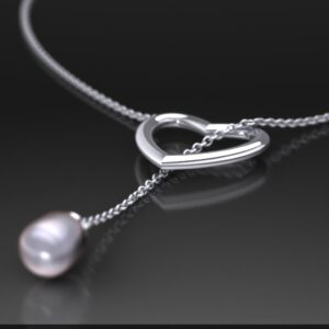 White Gold Lariat Necklace Featuring a Grey Pearl and Heart Motif