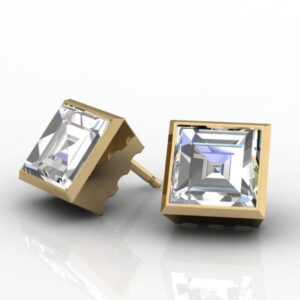 Carré Cut Diamond Stud Earrings Bezel Set in Yellow Gold