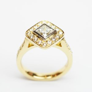 Diagonal Set Princess Cut Diamond Halo Design Ring in Yellow Gold
