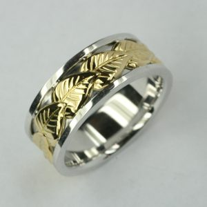 Yellow and White Gold Mens Wedding Ring with Leaf Detail