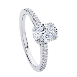 White gold Aurelia Engagement Ring with Oval diamond