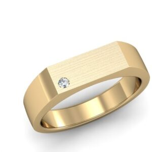 Yellow Gold Mens Signet Ring with a Gypsy Set Round Diamond and Matte Finish