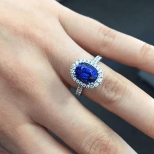 Ceylon Sapphire in Platinum and Diamond Halo Design Ring