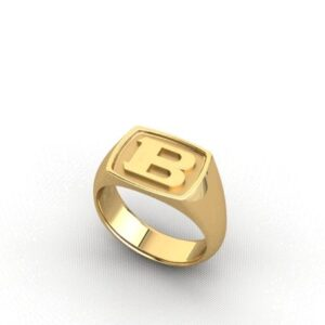 """18ct Yellow Gold Mens Signet Ring Featuring and Embossed Letter """"B"""""""