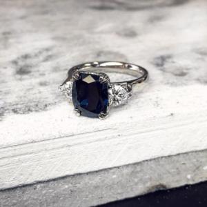 Cushion Cut Australian Blue Sapphire with Heart Shape Diamond Side Stones