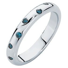 The Gypsy Blue ladies wedding ring featuring eight blue diamonds.