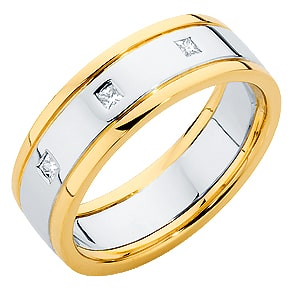 The Union Gypsy gents two-tone yellow gold and white gold wedding ring featuring three 2pt princess cut diamonds.