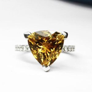 Trilliant Cut Citrine Ring with Micro-Claw Set Diamond Band in White Gold