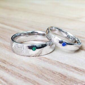 Custom White Gold Wedding Rings Featuring Fingerprint Engraving and Birthstones