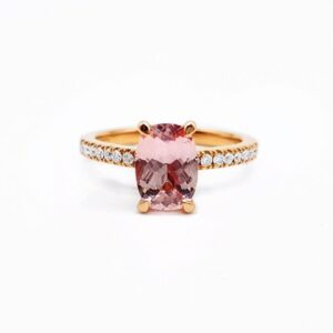 Cushion Cut Pink Sapphire in a Delicate Diamond Set Rose Gold Ring