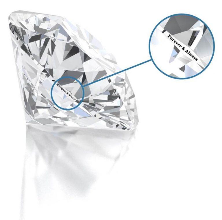 Personalised laser inscription on diamond