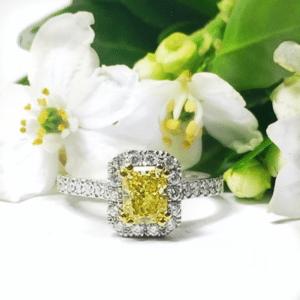 Radiant Cut Yellow Diamond In Micro-Claw Set Diamond Halo Design