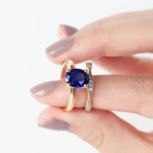 Oval Ceylon Sapphire in a Delicate Mill Grain Solitaire Design with a Twist Style Diamond Wedding Ring
