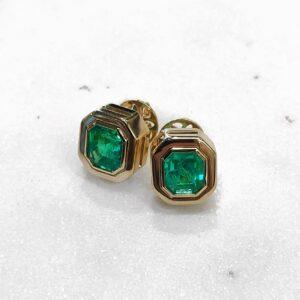 Matching Emerald Cut Colombian Emeralds Bezel Set in Yellow Gold Stud Earrings