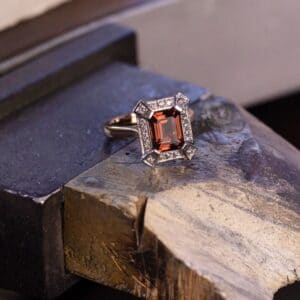 Deep Pink Tourmaline in an Art Deco Style White Gold and Diamond Ring