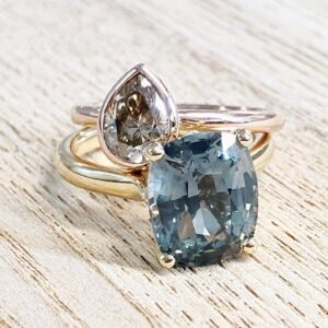 Pear Shape Champagne Diamond and Teal Sapphire Solitaire Rings