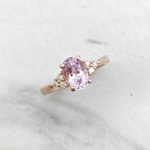 Pink Sapphire Ring in Rose Gold with Diamonds