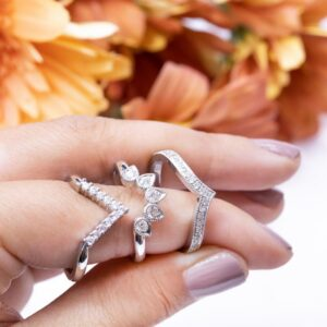 Trio of Diamond Set Fitted Wedding Rings