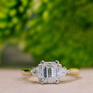 Emerald Cut Diamond and Trilliant Cut Diamond Three Stone Ring
