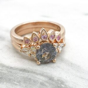 Grey Spinel and Diamond Engagement Ring in Rose Gold with Matching Pink Sapphire Fitted Wedding Ring
