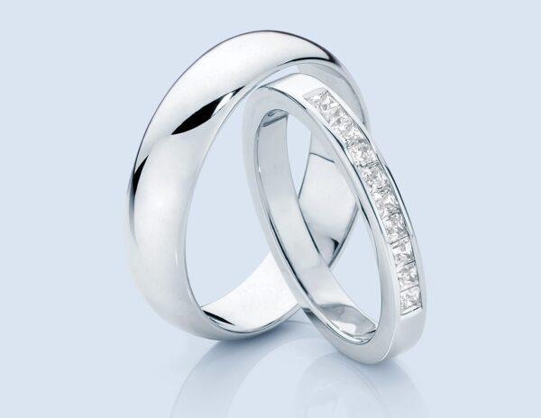 classical wedding rings pair