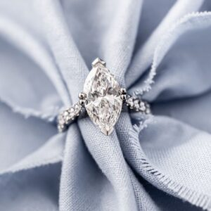 Marquise Diamond Engagement Ring with Micro-claw Set Diamond Band