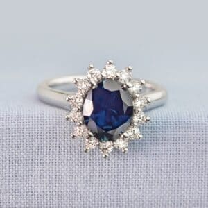 Ceylon Sapphire Surrounded by Diamonds in a Cluster Design Ring