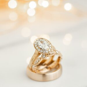 Rose Gold Engagement and Wedding Rings