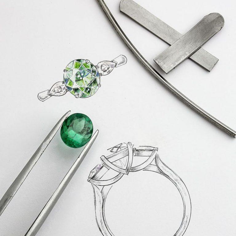 green stone ring sketch