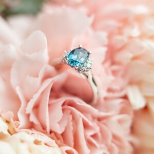 Teal Sapphire with Diamond Accents in Platinum
