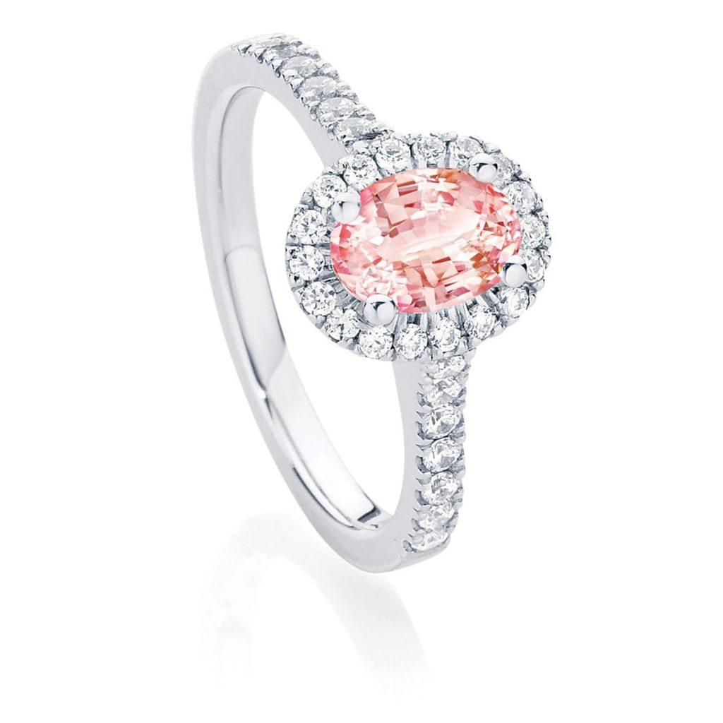 Rosetta Oval Peach Sapphire Engagement Ring