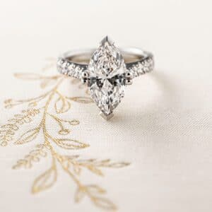 Marquise Cut Diamond Ring with Diamond Set Band
