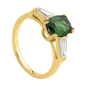 Green Tourmaline and Baguette Diamond Ring in Yellow Gold