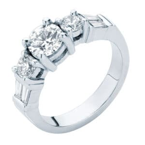 Three Stone Diamond Ring with Baguette Diamonds in the Shoulders
