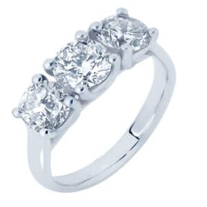 Three Stone Diamond Ring with Crossover Wire Setting