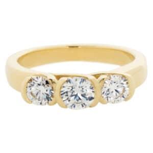 Three Stone Diamond Semi-Bezel Ring in Yellow Gold