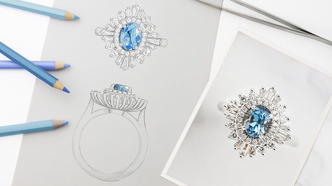 Bespoke engagement ring sketch