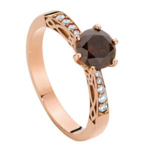 Round Brilliant Cognac Diamond set in a Rose Gold Ring with Celtic Design Diamond Set Shoulders