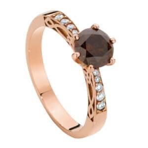 Round Brilliant Cognac Diamond set in a Rose Gold Ring with Celtic Design Diamond Set Shoulders