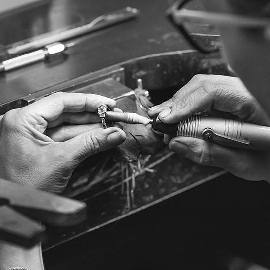 Custom diamond ring being handmade in Australia