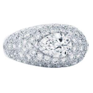 Platinum Pave Set Ring Featuring a Pear Shape Diamond Set Across the Finger