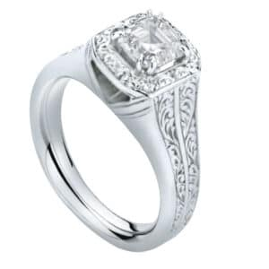 Asscher Cut Diamond Solitaire with Hand Engraved Halo and Shoulders
